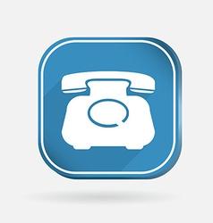 Classic retro phone Color square icon vector