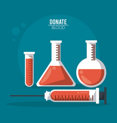 Color poster donate blood with test tubes and vector