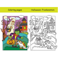 Coloring with colored example halloween vector