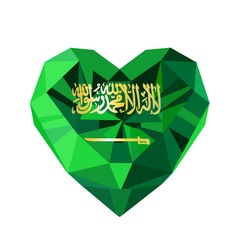 crystal gem jewelry Saudi Arabian heart with the vector image