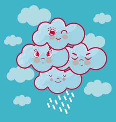 Cute clouds cartoons vector