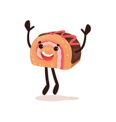 cute happy chocolate roll cake funny humanized vector image