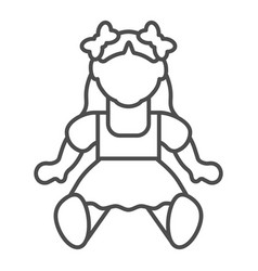 Doll girl thin line icon toy vector