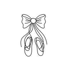Dotted shape ballet shoes style with ribbon bow vector