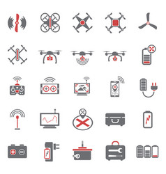 Drone red grey icons set on white background for vector