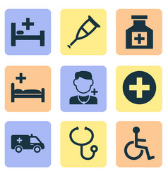 Drug icons set collection of plus polyclinic vector