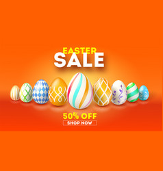 Easter sale get up to 50 percent discount hand vector