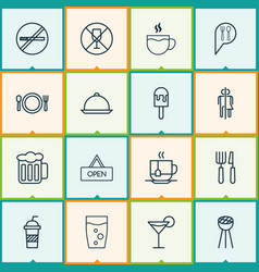 Eating icons set collection of tea ale board vector