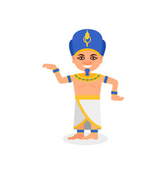 Egyptian man in traditional costume pharaoh vector