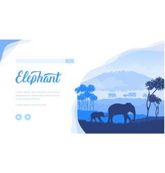 Elephants landing page template vector