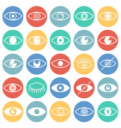 Eye icons set on color circles background for vector