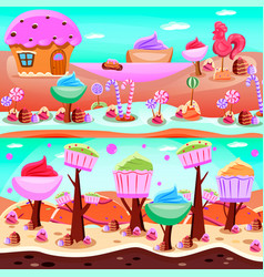 Fairy tale candy land compositions vector