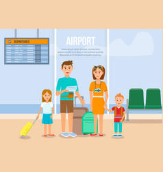 family in airport waiting to boarding on airplane vector image