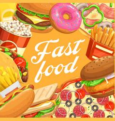 Fast food hamburger hot dog taco pizza popcorn vector