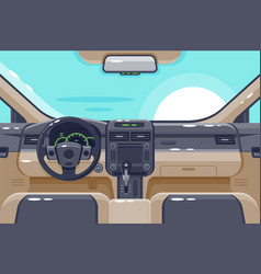 Flat insides of car interior with transmission vector
