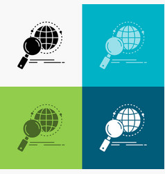 global globe magnifier research world icon over vector image