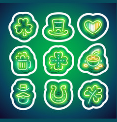 Glowing neon patricks sticker pack with stroke vector