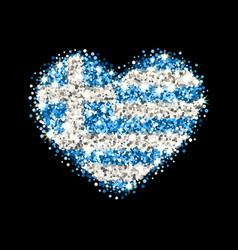 Greece flag sparkling heart badge vector