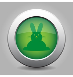 green metal button with Easter bunny vector image