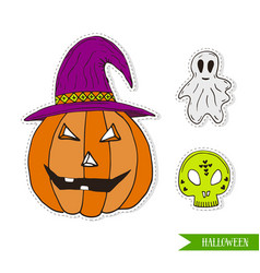 Halloween set with jack-o-lantern pumpkin ghost vector