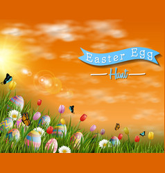 Happy easter eggs with tulip flowers and butterfly vector
