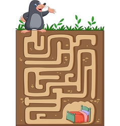 Help mole to find way home in an underground maze vector image