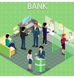 Isometric interior bank with people vector
