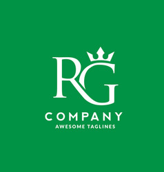 Letter rg with crown logo vector