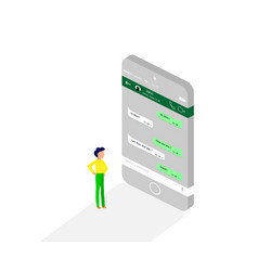 Man reading message from a social application in vector