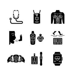 medical devices glyph icons set vector image