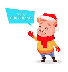 merry christmas cute pig wearing santa claus hat vector image