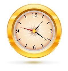 Metallic wall clock vector