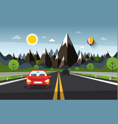 mountain landscape with cars on highway road vector image