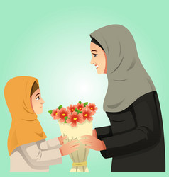 Muslim girl giving flowers to her mother vector
