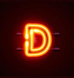 Neon font letter d art design singboard vector