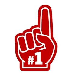 Number 1 one sports fan foam hand with raising vector image