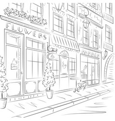 Old town street with old buildings cafes vector