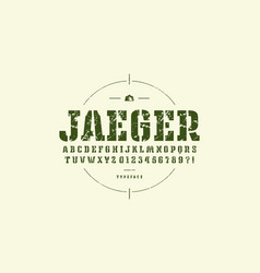 original stencil-plate slab serif font vector image