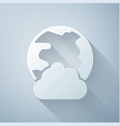 paper cut global technology or social network icon vector image
