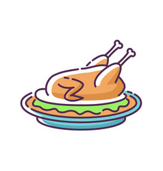 Pecking duck rgb color icon vector