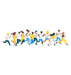 People racing flat characters set vector