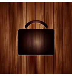 Portfolio web icon Bag symbol Wooden texture vector