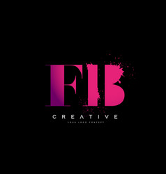 Purple pink fb f b letter logo design with ink vector