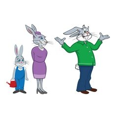 rabbit family vector image