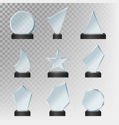 realistic detailed 3d glass cup trophies set vector image