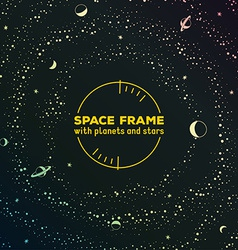 Retro futuristic frame with space stars and vector image