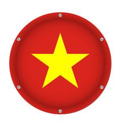 round metallic flag of vietnam with screws vector image