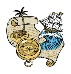 sail following treasure map vector image