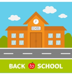 School building with clock and windows City vector