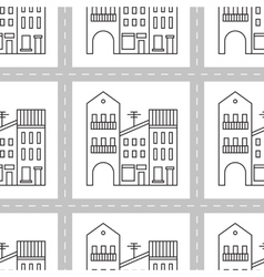 Seamless pattern with houses and streets vector
